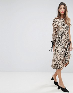 photo Midi Dress with One Sleeve and Ruched Detail in Animal Print by ASOS, color Multi - Image 1