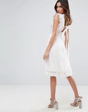 photo Sleeveless Embroidered Dress by ASOS PREMIUM, color Ivory - Image 2
