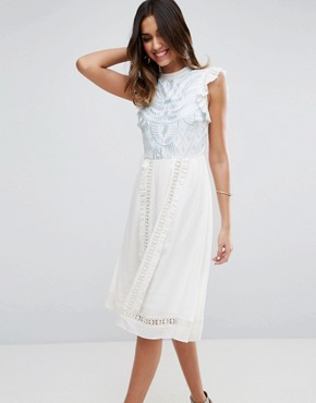 photo Sleeveless Embroidered Dress by ASOS PREMIUM, color Ivory - Image 1