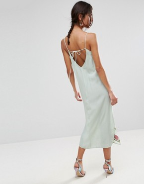 photo Slip Dress with Floral Embroidery by ASOS PREMIUM, color Green - Image 2