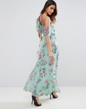 photo Floral Maxi Tea Dress with Lace Up Detail by ASOS, color Multi - Image 2