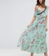 photo Floral Maxi Tea Dress with Lace Up Detail by ASOS, color Multi - Image 1