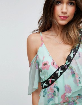 photo Floral Maxi Tea Dress with Lace Up Detail by ASOS, color Multi - Image 3