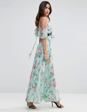 photo Floral Maxi Tea Dress with Lace Up Detail by ASOS, color Multi - Image 4