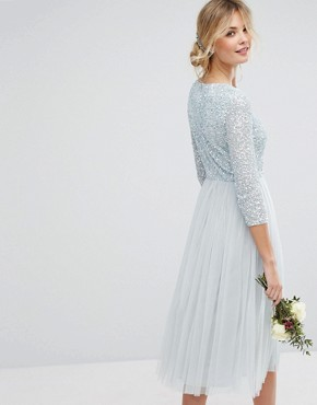 photo 3/4 Sleeve Midi Dress with Delicate Sequin and Tulle Skirt by Maya Tall, color Ice Blue - Image 2