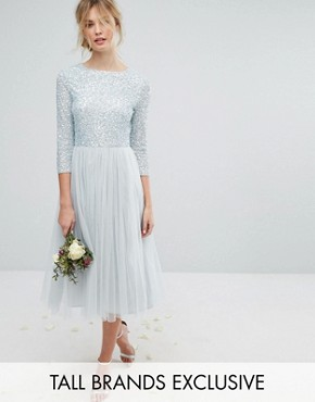 photo 3/4 Sleeve Midi Dress with Delicate Sequin and Tulle Skirt by Maya Tall, color Ice Blue - Image 1