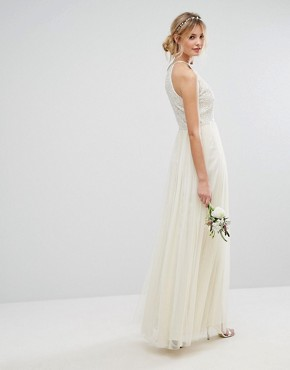 photo High Neck Maxi Tulle Dress with Tonal Delicate Sequins by Maya Tall, color Ecru - Image 2