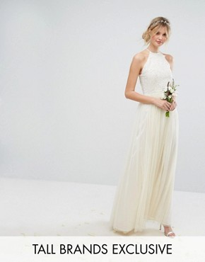 photo High Neck Maxi Tulle Dress with Tonal Delicate Sequins by Maya Tall, color Ecru - Image 1