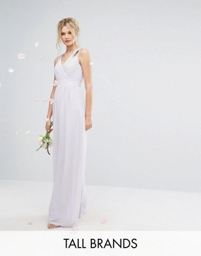 photo Wrap Front Maxi Dress with Embellishment by TFNC Tall WEDDING, color Lilac - Image 1