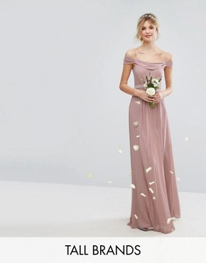 photo Cold Shoulder Embellished Maxi Dress by TFNC Tall WEDDING, color Mauve - Image 1