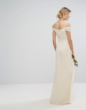 photo Cold Shoulder Embellished Maxi Dress by TFNC Tall WEDDING, color Ecru - Image 2