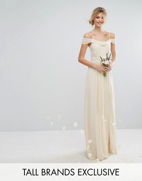 photo Cold Shoulder Embellished Maxi Dress by TFNC Tall WEDDING, color Ecru - Image 1