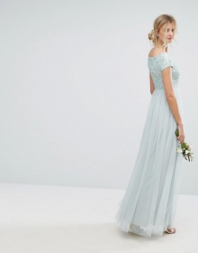 photo Bardot Maxi Dress with Delicate Sequin and Tulle Skirt by Maya Tall, color Mint - Image 2