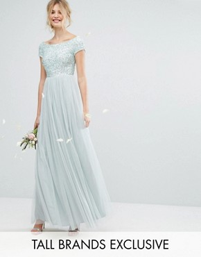 photo Bardot Maxi Dress with Delicate Sequin and Tulle Skirt by Maya Tall, color Mint - Image 1
