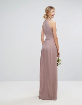 photo High Neck Pleated Maxi Dress by TFNC Tall WEDDING, color Pale Mauve - Image 2