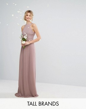 photo High Neck Pleated Maxi Dress by TFNC Tall WEDDING, color Pale Mauve - Image 1