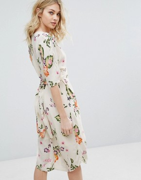 photo Floral Print Wrap Midi Dress by Vero Moda, color Moonbeam - Image 2