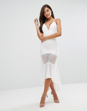 photo Sheer Metallic Fleck Jacquard Midi Dress with Lace Insert by Dark Pink, color White - Image 2