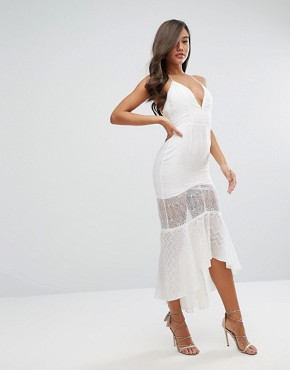 photo Sheer Metallic Fleck Jacquard Midi Dress with Lace Insert by Dark Pink, color White - Image 4