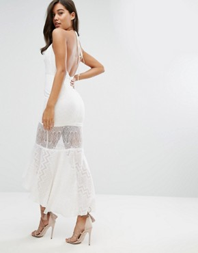 photo Sheer Metallic Fleck Jacquard Midi Dress with Lace Insert by Dark Pink, color White - Image 1
