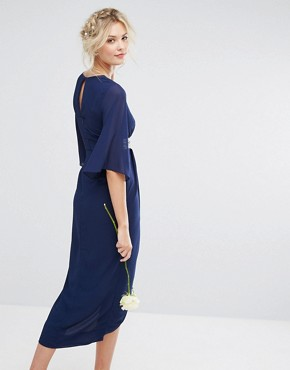 photo Kimono Sleeve Midi Dress with Wrap Skirt by TFNC Tall WEDDING, color Navy - Image 2