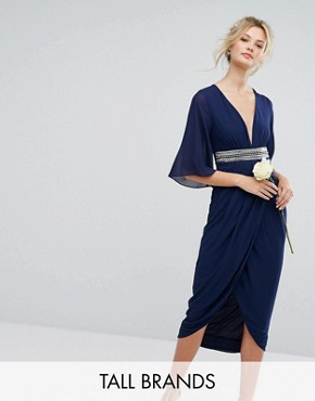 photo Kimono Sleeve Midi Dress with Wrap Skirt by TFNC Tall WEDDING, color Navy - Image 1