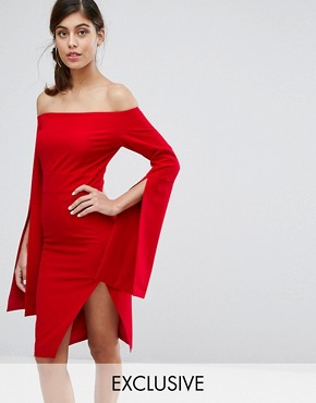 photo Midi Dress with Oversize Sleeve & Split by Dark Pink, color Red - Image 1