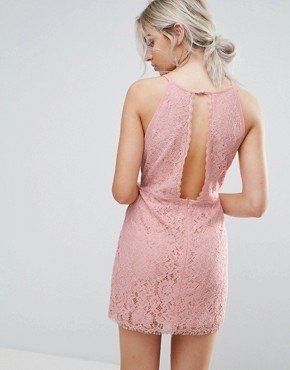 photo Cut Out Lace Bodycon Dress by Missguided Petite, color Pink - Image 2