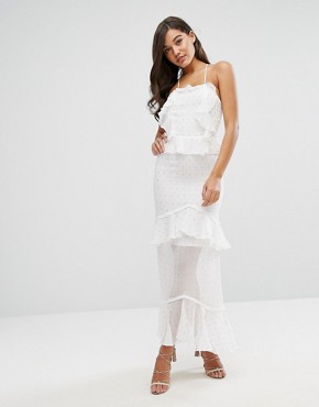 photo Metallic Fleck Ruffle Maxi Dress with Lace Up Back by Dark Pink, color White - Image 1