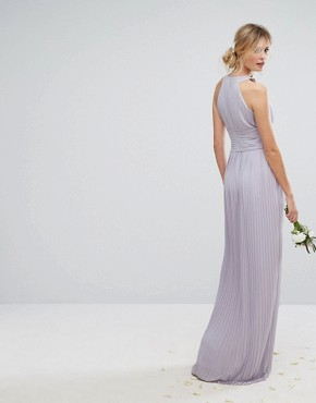photo High Neck Pleated Maxi Dress by TFNC Tall WEDDING, color Lilac - Image 2