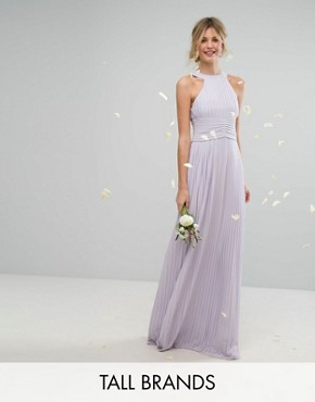 photo High Neck Pleated Maxi Dress by TFNC Tall WEDDING, color Lilac - Image 1