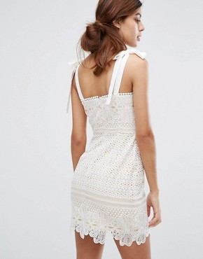 photo Lace Mini Dress with Tie Shoulders by Dark Pink, color White - Image 2
