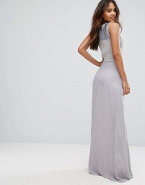photo Allover Lace Applique Top Maxi Dress by Club L Tall, color Lavender Grey - Image 2