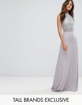 photo Allover Lace Applique Top Maxi Dress by Club L Tall, color Lavender Grey - Image 1
