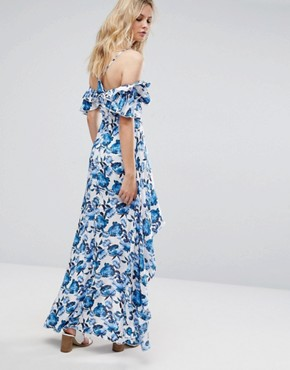 photo Frill Detail Maxi Dress by Missguided Tall, color Floral - Image 2