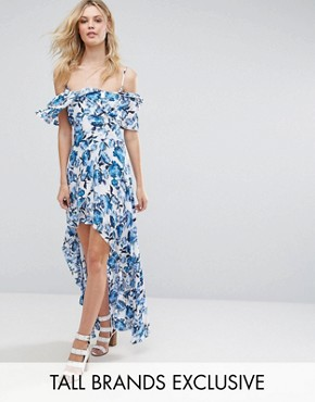 photo Frill Detail Maxi Dress by Missguided Tall, color Floral - Image 1