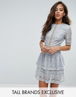photo Lace Ladder Trim Ruffle Hem Dress by Missguided Tall, color Ice Grey - Image 1