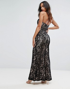 photo Sweetheart Maxi Dress in Panelled Lace by Bariano, color Black/Nude - Image 2