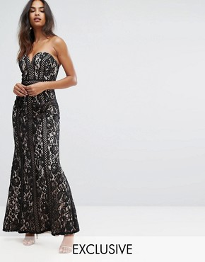 photo Sweetheart Maxi Dress in Panelled Lace by Bariano, color Black/Nude - Image 1