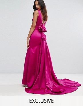 photo Fishtail Satin Maxi Dress with Structured Bow Back by Bariano, color Fuchsia - Image 1