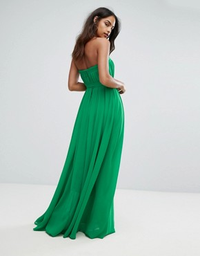 photo Column Pleated Maxi Dress by Bariano, color Vivid Green - Image 2