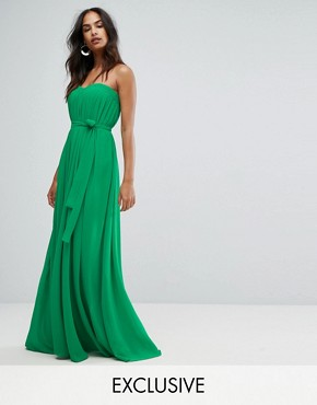 photo Column Pleated Maxi Dress by Bariano, color Vivid Green - Image 1