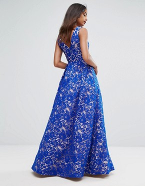 photo Plunge Full Maxi Dress in All Over Lace by Bariano, color Cobalt/Nude - Image 2