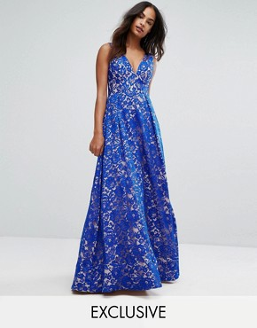 photo Plunge Full Maxi Dress in All Over Lace by Bariano, color Cobalt/Nude - Image 1
