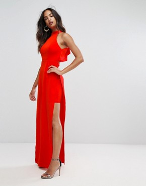 photo High Neck Maxi Dress with Open Back Detail by Bariano, color Red - Image 2