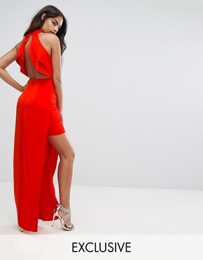 photo High Neck Maxi Dress with Open Back Detail by Bariano, color Red - Image 1