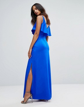 photo Cami Maxi Dress with Frill Front by Bariano, color Cobalt - Image 2