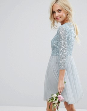 photo 3/4 Sleeve Mini Dress with Delicate Sequin and Tulle Skirt by Maya Petite, color Ice Blue - Image 2