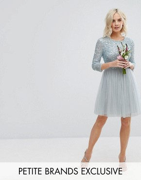 photo 3/4 Sleeve Mini Dress with Delicate Sequin and Tulle Skirt by Maya Petite, color Ice Blue - Image 1