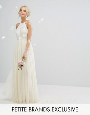 photo High Neck Maxi Tulle Dress with Tonal Delicate Sequins by Maya Petite, color Ecru - Image 1